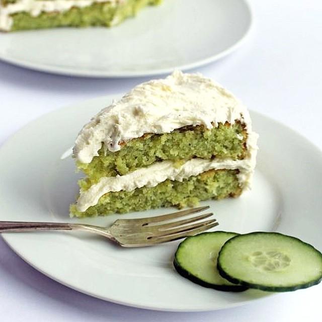 Cucumber & Lemon Cake With Elderflower Icing