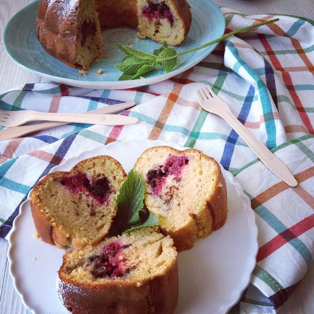 Chocolate Mint Raspberry Bundt Cake