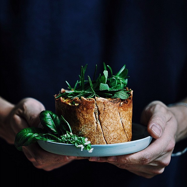 Mushroom & Spinach Quiche With Parmesan, Sage & Rosemary