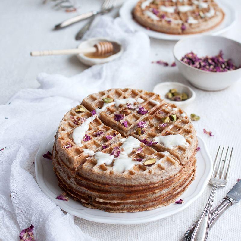 Honey Rose Pistachio Sourdough Spelt Waffles
