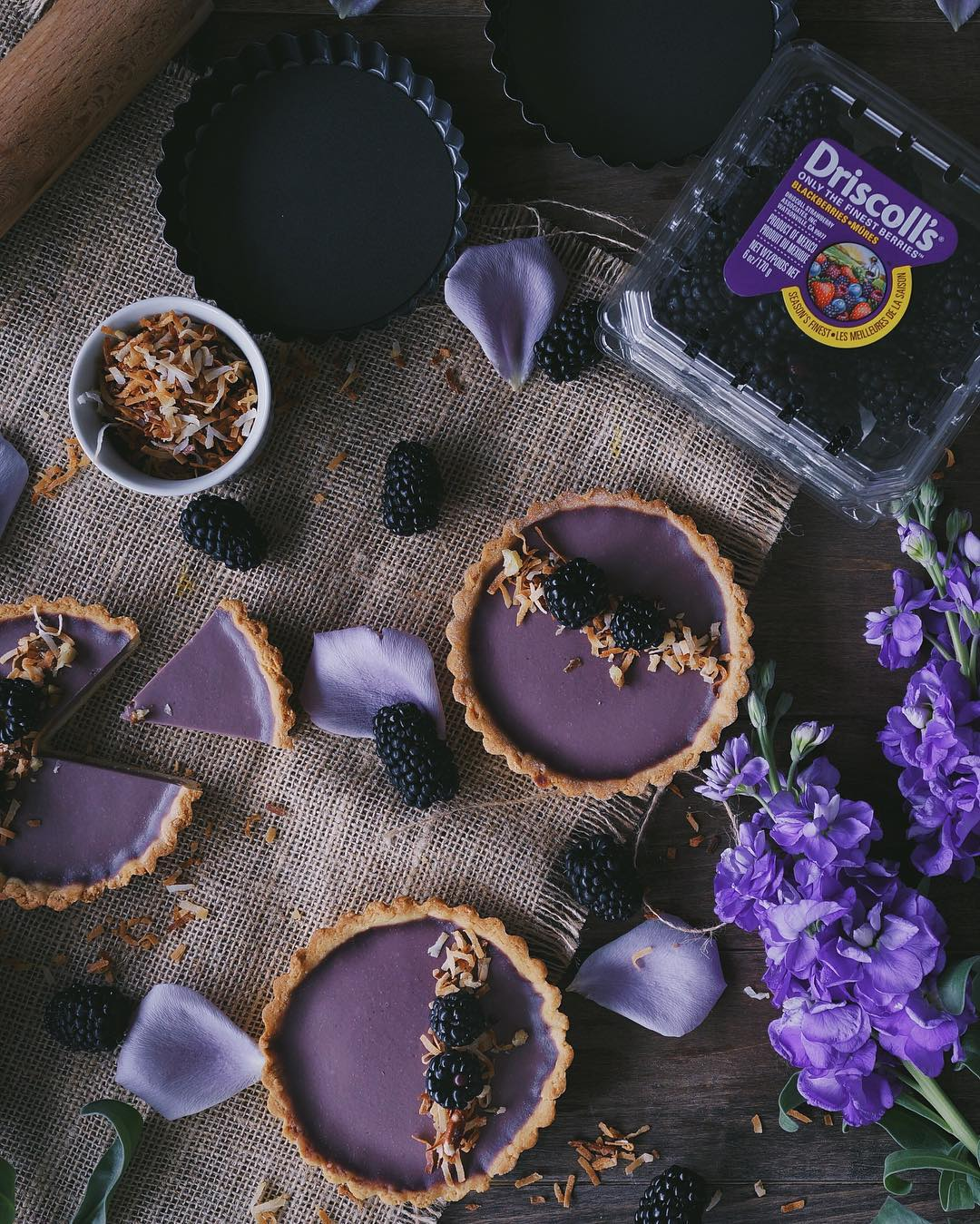 Blackberry And Coconut Panna Cotta Tarts