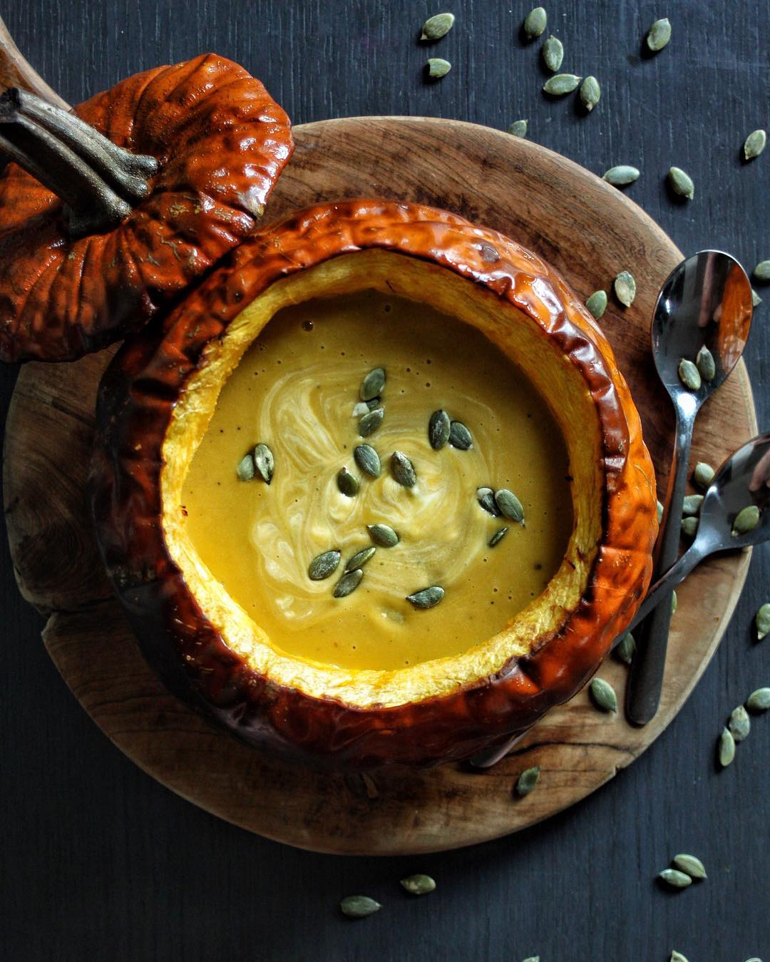 Pumpkin, Lentil And Thyme Soup In Roasted Pumpkin Bowls