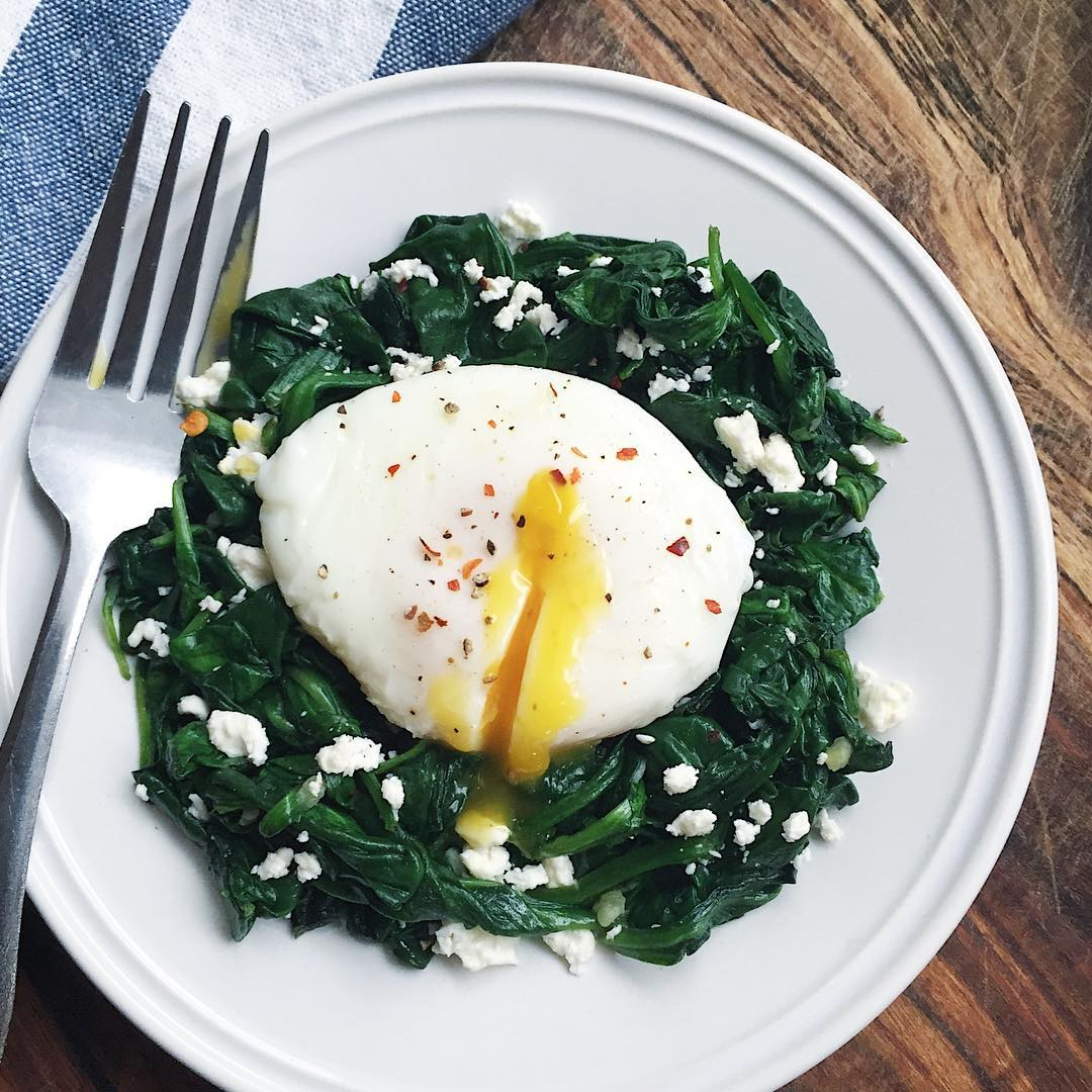 Poached Egg Over Garlic Spinach & Feta