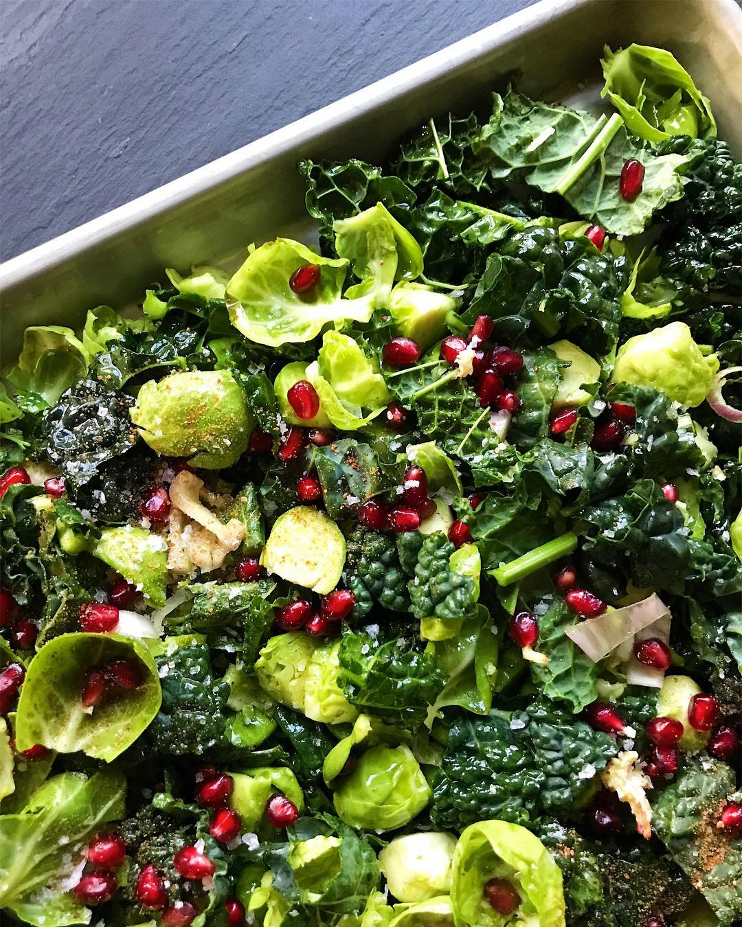 Roasted Brussels Sprouts and Kale with Pomegranate and Shallots