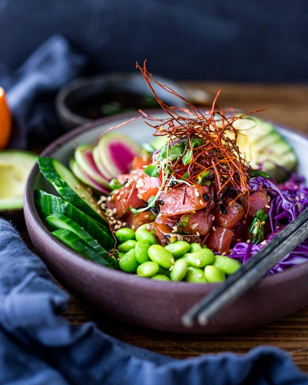 Ahi Tuna Vegetable Bowl with Edamame and Avocado