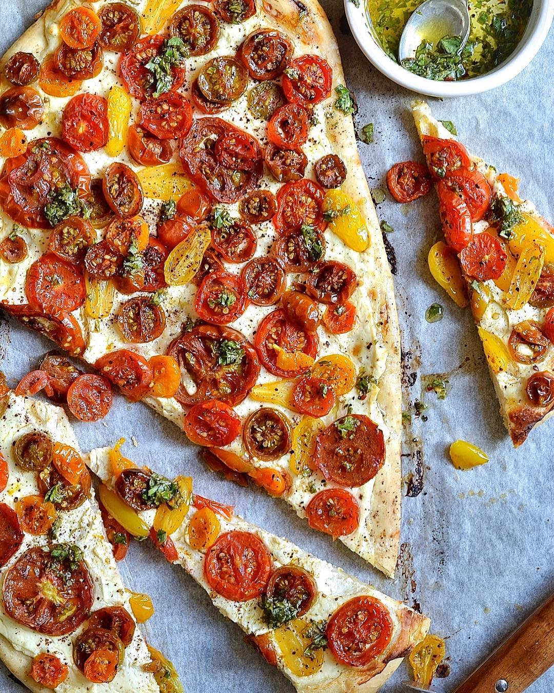 Lemon Ricotta, Sumac and Heirloom Tomato Flatbread