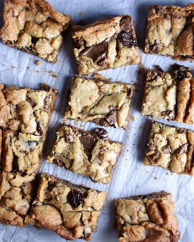 Brown Butter Blondies with Toffee and Dried Cherries