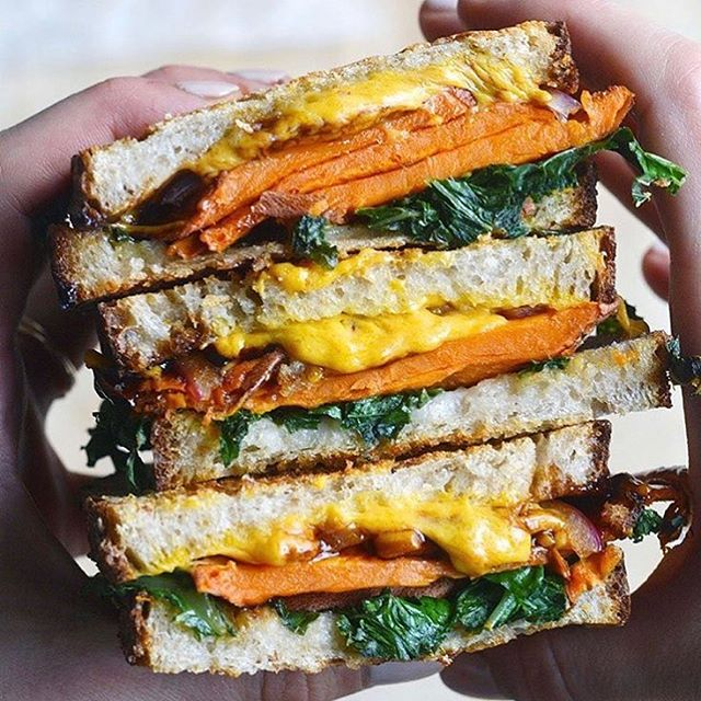 Balsamic Sweet Potato and Greens Grilled Cheese Sandwich