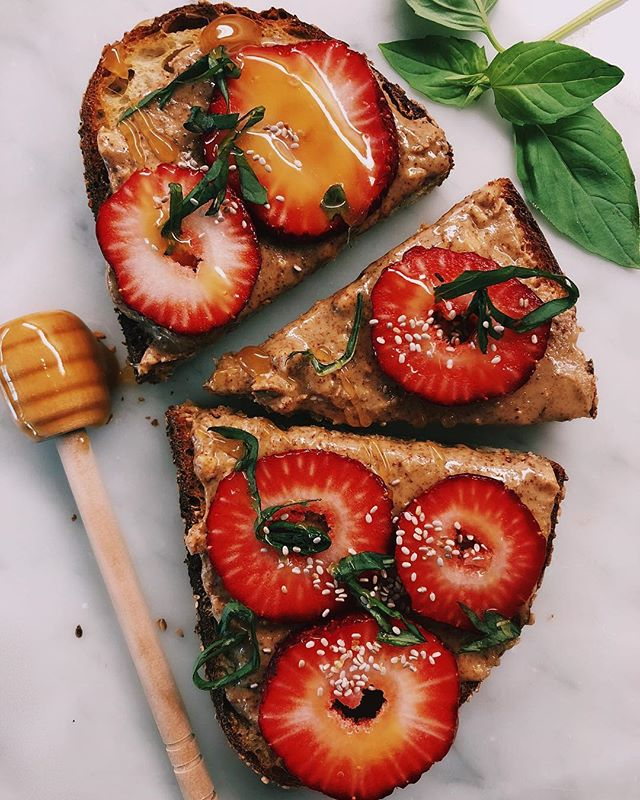 Fresh Strawberry, Basil and Almond Butter Toast