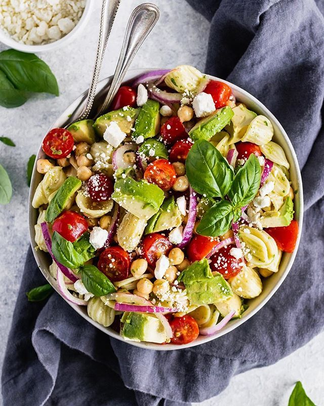 Mediterranean Avocado Chickpea Pasta Salad with Lemon Basil Vinaigrette
