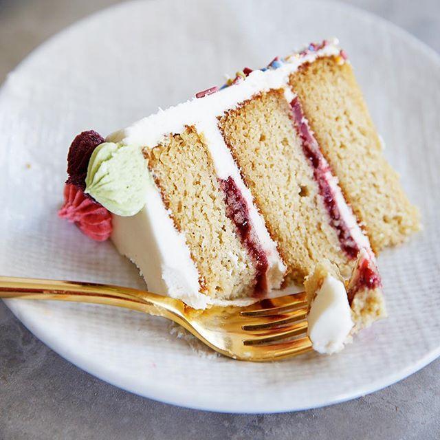 Vanilla Cake Layered With Strawberry Jam And Buttercream