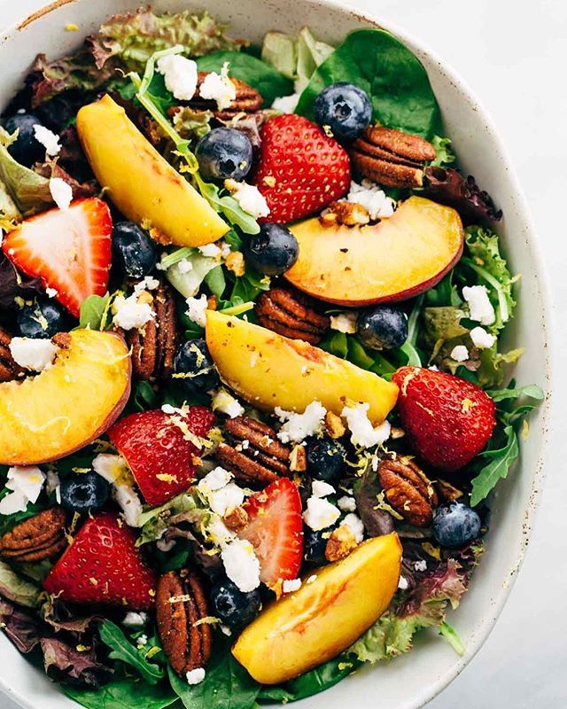 Fruit and Greens Salad with Peach Poppy Seed Dressing, Feta, and Pecans