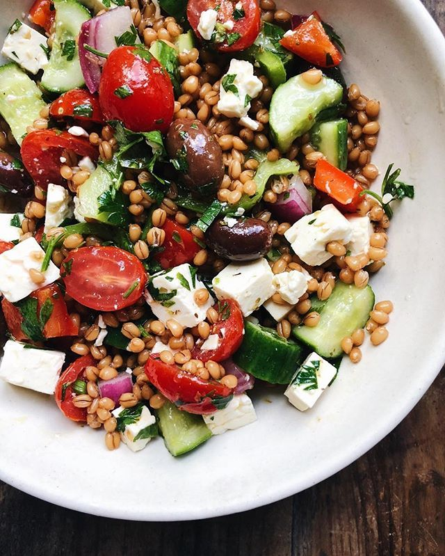 Greek Chickpea Wheat Berry Salad With Feta Cheese And