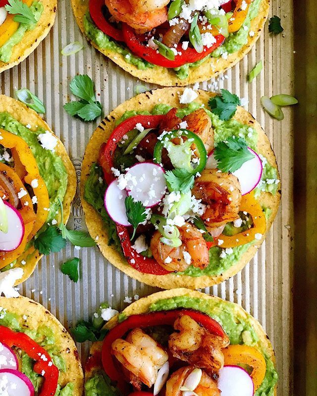 Avocado and Shrimp Fajita Tostadas