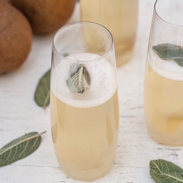 Pear, Ginger, & Sage Champagne Cocktails
