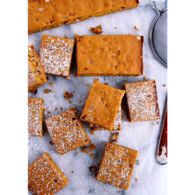 Brown Butter Pumpkin Cake Bars With Toasted Pecans & White Chocolate
