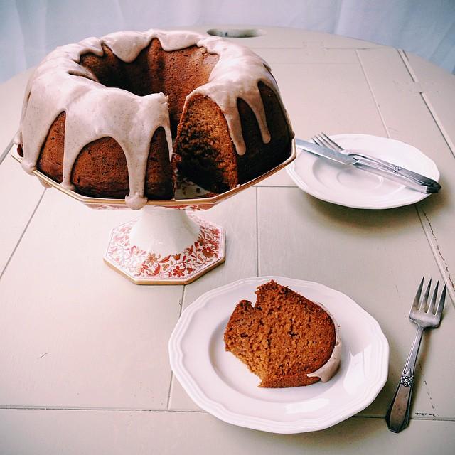 Maple Glazed Pumpkin Spice Bundt Cake (vegan)