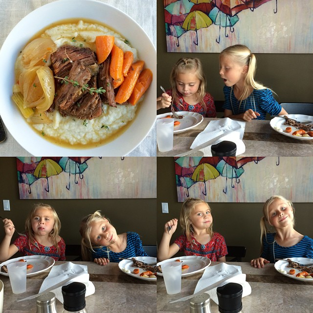 Sunday dinner: slow cooker pot roast and veggies served over a choice of mashed potatoes or mashed…