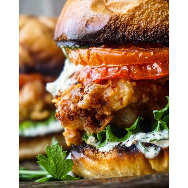Buttermilk Fried Chicken Sandwich With Roasted Tomatoes And Dill Verde Mayo