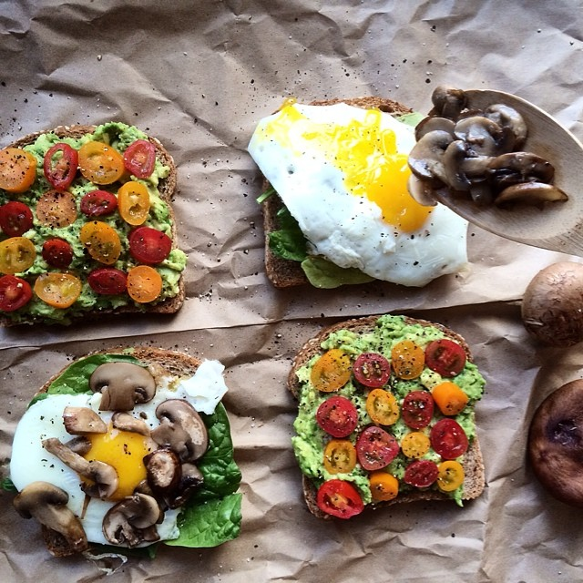 Open-faced breakfast sandwiches for dinner.  Side 1: Mashed avo topped with s&p and cherry tomatoes…