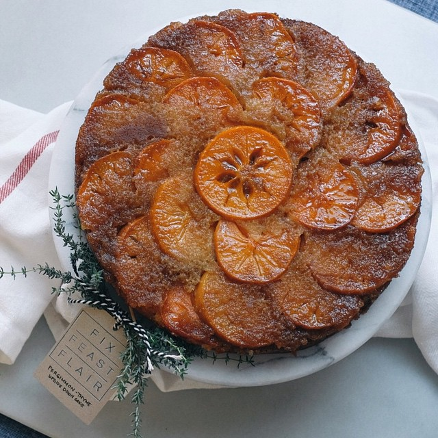 Persimmon-thyme Upside Down Cake