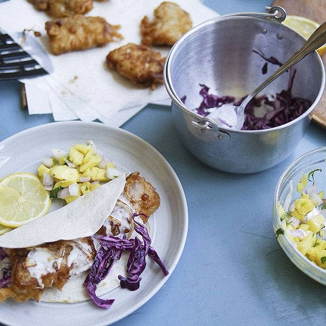 Fish Tacos With Mango Salsa & Red Cabbage Slaw