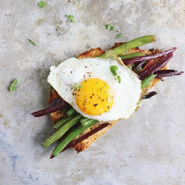 Garlicky Beet Green & Green Bean Open-faced Egg Sandwiches