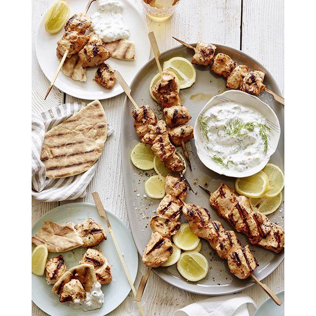Yogurt Marinated Grilled Chicken Skewers With Tzatziki Sauce