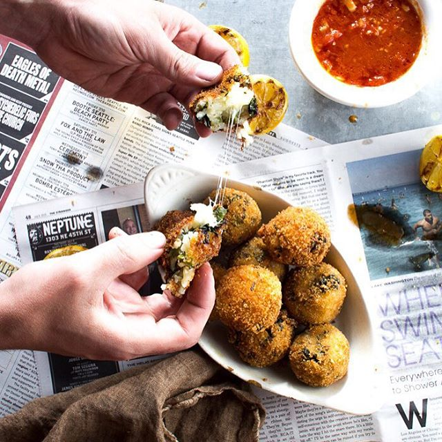 Broccoli rabe arancini with marinara sauce. Otherwise known as little delicious balls of risotto…