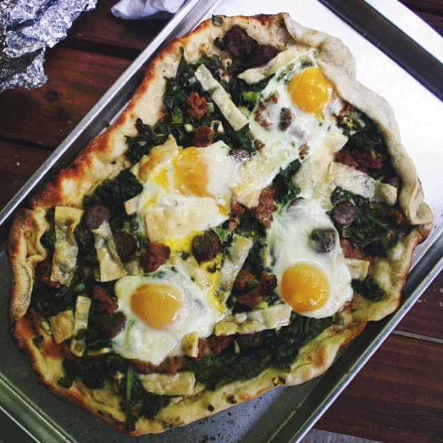 Sausage & Egg Pizza With Lambsquarters & Kale Greens & Parmesan Cheese
