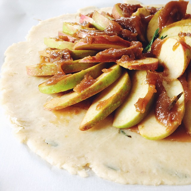 Apple Galette With Rosemary Apple Cider Caramel & Maple Whipped Cream