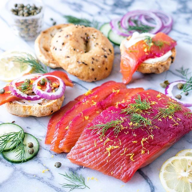 throwback to last month, when we made @dennistheprescott brilliant beet-cured lox, paired with…