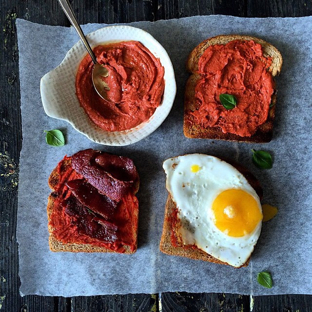 Hummus, Muhammara, Bacon And Fried Egg