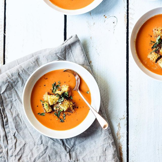 tomato basil soup with cornbread croutons. happy Friday!