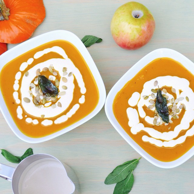 Roasted Pumpkin & Apple Soup With Sage Browned Butter Cream & Salted Pumpkin Seeds