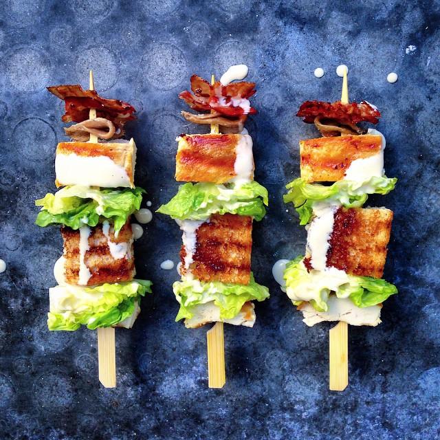 Grilled Chicken Caesar Salad On A Stick