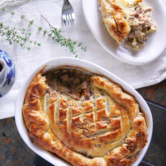 Turkey & Leek Pot Pie With Smoked Bacon, Walnut, Sage & Creme Fraiche