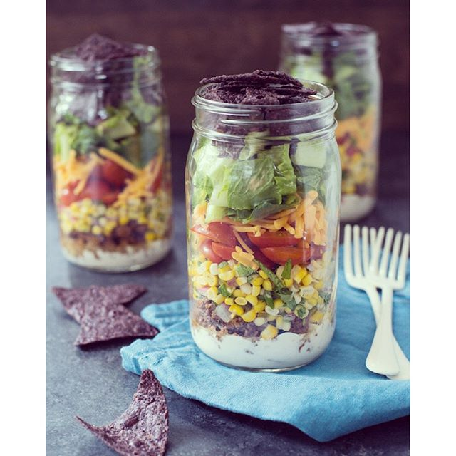 Taco Salad Jars With Green Chile Yogurt Dressing And Fresh Corn Salsa