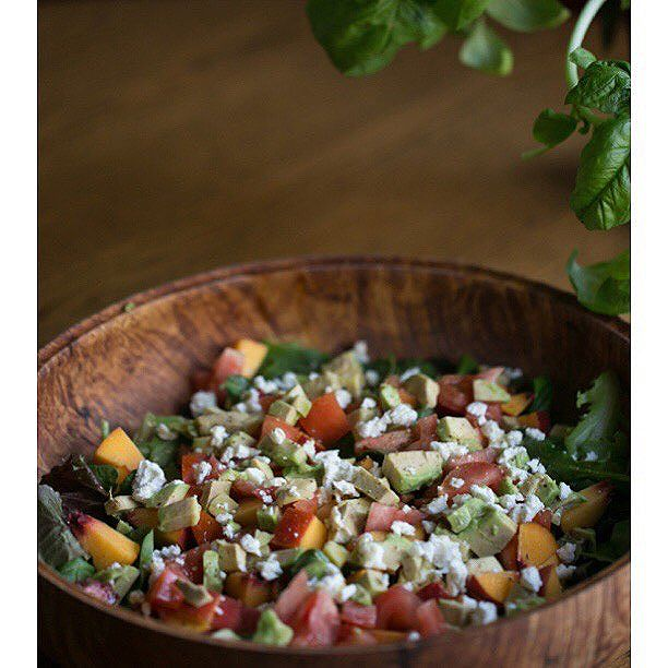 Peach, Avocado, Tomato, and Basil Salad with Goat Cheese  I try and make a really big salad with…