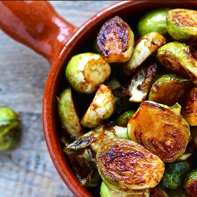 Miso Roasted Brussels Sprouts With Maple Syrup And Sriracha