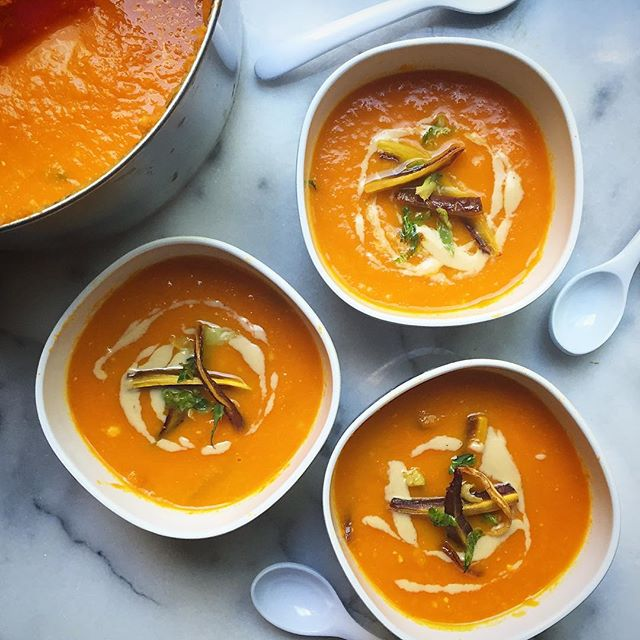 Creamy Miso Carrot Soup With Tahini & Garlic