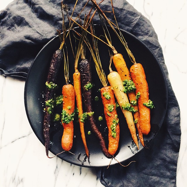 Rainbow Roasted Carrots With Chimichurri