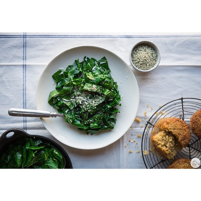 Miso Collard Greens With Flaxseed & Cornbread Pudding