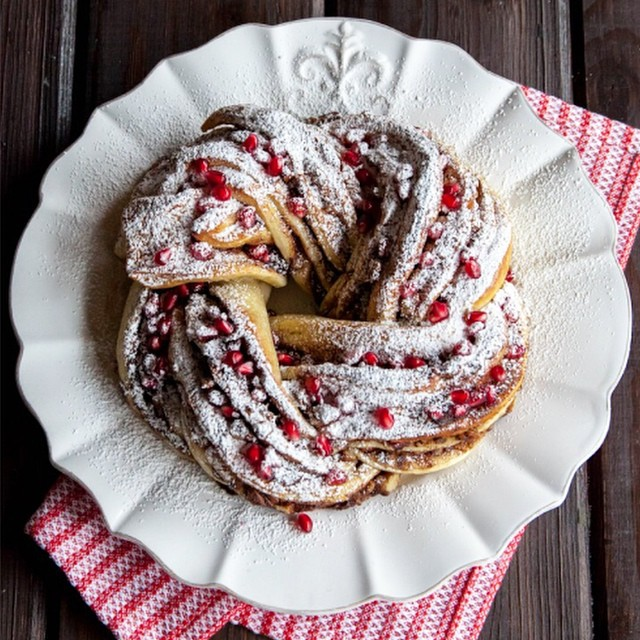 Chocolate And Pomegranate Twisty Bread