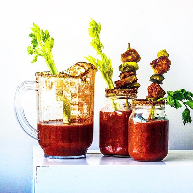 Bloody Mary's With Fried Stilton Blue Cheese Bites