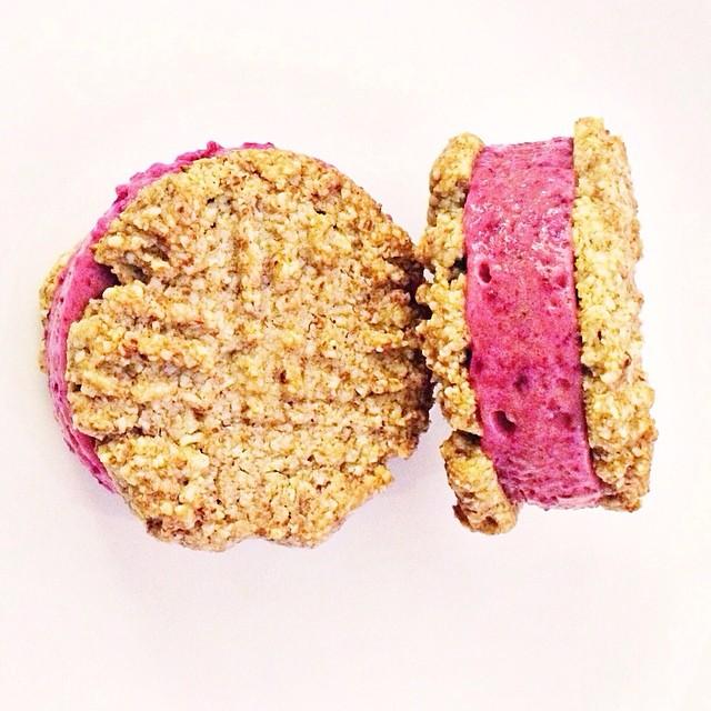 Almond 'shortbread' With Banana Strawberry Beet Ice Cream