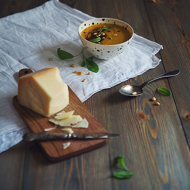 Butternut Squash Soup with brown butter & sage, pine nuts and parmigiano reggiano - inspired by…