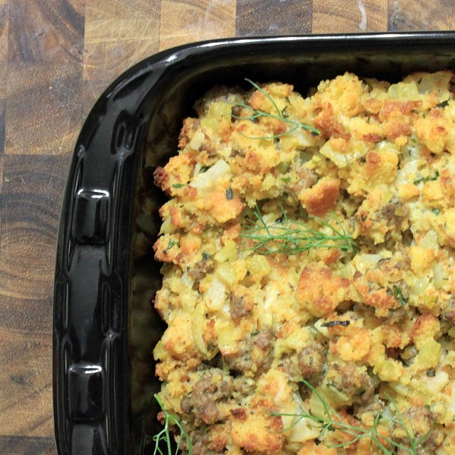 Starting on Thanksgiving a bit early over here! Cornbread stuffing!