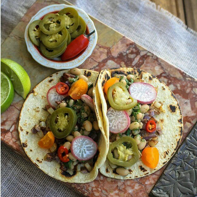 White Bean Potato Tacos With Pickled Jalapeños & Radishes