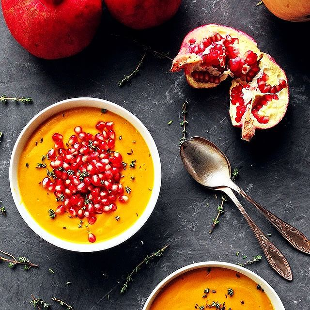 Butternut squash coconut curry soup with pomegranate seeds for dinner. A beautiful medley of flavors…